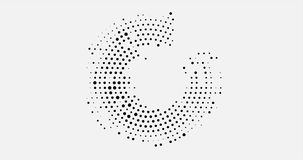 Абстрактная предпосылка дела с круговым дизайном полутонового изображения в форме открытого круга черных точек вокруг круга сток-видео