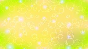 Абстрактная предпосылка желтого зеленого цвета с кольцами и кругами Стоковое Фото