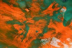 Абстрактная предпосылка зеленого цвета над оранжевой краской стоковые изображения rf