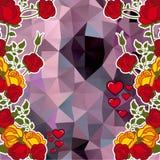 Абстрактная предпосылка мозаики с декоративными розами и сердцами скопируйте космос ART зажима вектора бесплатная иллюстрация