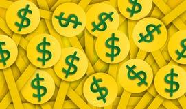 Абстрактная предпосылка монетки доллара, вектор, иллюстрация, бумажное искусство стоковое изображение