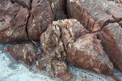 Абстрактная предпосылка розовых депозитов соли и белой земли Danakil, Afar таза пустыни, северной Эфиопии Стоковые Изображения