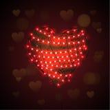 Абстрактная предпосылка сердца с светящей гирляндой Стоковая Фотография RF