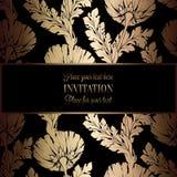 Абстрактная предпосылка с антиквариатом, роскошной чернотой и рамкой золота винтажной, викторианским знаменем, орнаментами флорис Стоковые Изображения
