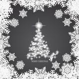 Абстрактная предпосылка с белыми рождественской елкой, снежинками и звездами Иллюстрация в черно-белых цветах вектор иллюстрация вектора