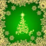 Абстрактная предпосылка с белыми рождественской елкой, снежинками и звездами Иллюстрация в зеленых и белых цветах бесплатная иллюстрация