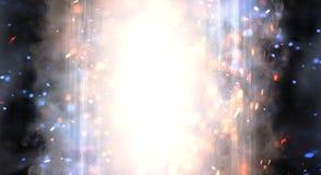 Абстрактная предпосылка с дымом и искрами, неоновым светом иллюстрация вектора