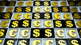 Абстрактная предпосылка с знаком евро и доллар на черно-белых кубах иллюстрация штока