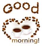 Абстрактная предпосылка с кофейными зернами и чашками иллюстрация вектора