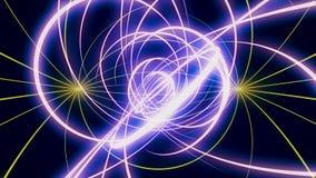 Абстрактная предпосылка с неоновыми красочными нашивками пурпурных и желтых цветов на черной предпосылке r Двигать и бесплатная иллюстрация