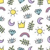 Абстрактная предпосылка с различными элементами мультфильма Безшовная картина с радугой, кроной, солнцем, глазом, лист, луной и д бесплатная иллюстрация