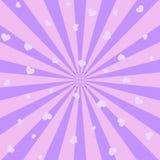 Абстрактная предпосылка с розовыми лучами и сердцами солнца вектор иллюстрация вектора