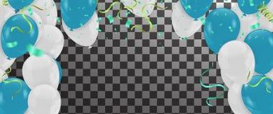 Абстрактная предпосылка с светя белыми воздушными шарами и синью biro иллюстрация вектора
