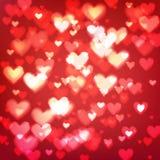 Абстрактная предпосылка с сердцами и светами bokeh Стоковое фото RF