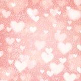 Абстрактная предпосылка с сердцами и светами bokeh Стоковая Фотография