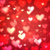 Абстрактная предпосылка с сердцами и светами bokeh Стоковое Изображение