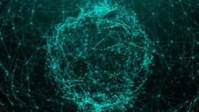 Абстрактная предпосылка с точками соединения цифровая сфера Стоковое фото RF