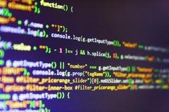 Абстрактная предпосылка технологии ИТ Предпосылка программного обеспечения абстрактная Контролируйте крупный план исходного кода  стоковые изображения rf