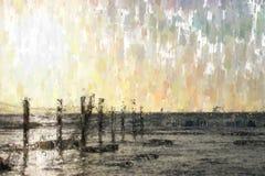 абстрактная предпосылка фото стиля картины маслом настроения моря Стоковое Изображение RF