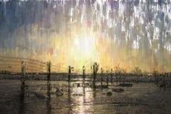 абстрактная предпосылка фото стиля картины маслом настроения моря Стоковая Фотография RF
