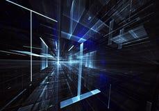 Абстрактная предпосылка фрактали 3D, текстура Виртуальный неоновый город бесплатная иллюстрация