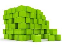 абстрактная предпосылка 3d cubes зеленый цвет Стоковые Фотографии RF