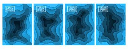 абстрактная предпосылка 3d Комплект 4 вариантов Слои отрезанные от бумаги иллюстрация штока
