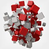 абстрактная предпосылка 3d cubes красная белизна иллюстрация вектора стиля 3d Иллюстрация вектора