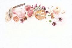 Абстрактная предпосылка hashanah &#x28 Rosh; еврейский Новый Год holiday) концепция символы традиционные Стиль эскиза карандаша стоковые изображения rf