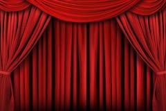 абстрактная предпосылка задрапировывает красный театр этапа Стоковое Изображение