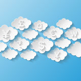 Абстрактная предпосылка с символами валюты Стоковая Фотография