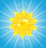 Абстрактная предпосылка с солнцем и световыми лучами Стоковое фото RF