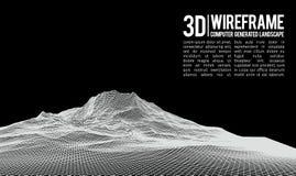 Абстрактная предпосылка ландшафта wireframe вектора Решетка виртуального пространства иллюстрация вектора wireframe технологии 3d Стоковое Изображение RF