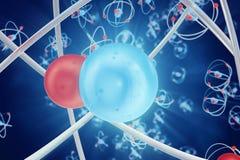 Абстрактная предпосылка атома, цифровая иллюстрация атома Накаляя шарики энергии Абстрактный конец-вверх атома как научная Стоковое Изображение