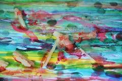 абстрактная предпосылка Воск, краска и гипнотические цвета Стоковые Фотографии RF