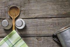 Абстрактная предпосылка еды на винтажных досках Стоковые Изображения RF