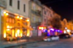 Абстрактная предпосылка запачканных светов города улицы Стоковая Фотография