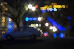 Абстрактная предпосылка запачканных светов города улицы Стоковая Фотография RF