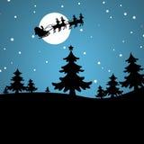 Абстрактная предпосылка зимы с рождественской елкой и Сантой Стоковые Фото