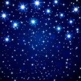 Абстрактная предпосылка ночного неба космоса с накаляя звездами вектор Стоковое Фото