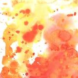 Абстрактная предпосылка оранжевого красного цвета желтого цвета акварели Стоковое Изображение