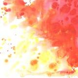 Абстрактная предпосылка оранжевого красного цвета желтого цвета акварели Стоковые Изображения