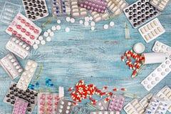 Абстрактная предпосылка пилюлек медицины Стоковое фото RF