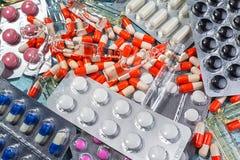 Абстрактная предпосылка пилюлек медицины Стоковое Фото