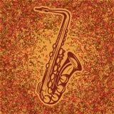 Абстрактная предпосылка примечаний музыки с градиентом и саксофоном Стоковое Изображение RF