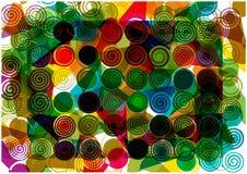 Абстрактная предпосылка спиралей и форм радуги Стоковая Фотография