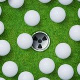 Абстрактная предпосылка спорта гольфа шара для игры в гольф и отверстия гольфа на предпосылке зеленой травы стоковые изображения rf