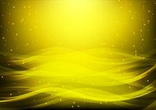 Абстрактная предпосылка с волнами и звездами желтого цвета; Золотая волна воды; предпосылка компьютера; предпосылка сети; предпос стоковое изображение rf
