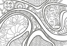 Абстрактная предпосылка с линиями, стрелкой, волной и цветками Стоковые Изображения RF