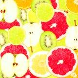 Абстрактная предпосылка с кусками свежих фруктов Стоковые Фото